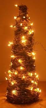 grapevine trees with lights brown wire and clear bulbs at