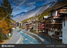 zermatt switzerland oct 20 2010 view from the bridge on the