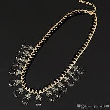2018 yfjewe fashion thick chain weave black rhinestones crystal