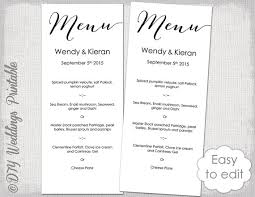 wedding menu templates wedding menu template modern calligraphy script black menu diy