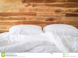 White Bedding White Bedding Sheets And Pillow Messy Bed Concept Stock Photo