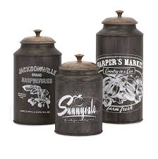 Primitive Kitchen Canisters Amazon Com Imax 73383 3 Darby Metal Canisters Set Of Three