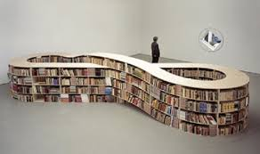 eight shape brown particle board bookshelves for modern library in