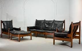Black Leather Mid Century Sofa Mid Century Scandinavian Black Leather Sofa Set 1960s For Sale At