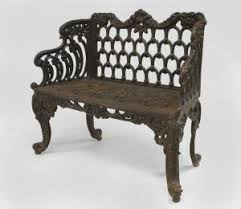 Cast Iron Loveseat English Victorian Black Painted Cast Iron Loveseat With Scroll
