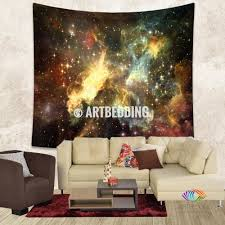 galaxy tapestry golden cosmos series nebula with stars wall