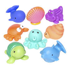 amazon com elegant baby bath time fun rubber water squirties amazon com elegant baby bath time fun rubber water squirties vinyl zip storage bag sea party set of 8 water squirting toys baby