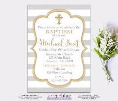 Invitation Cards For Christening Gray U0026 Gold Baptism Invitation Boy Christening Invite First