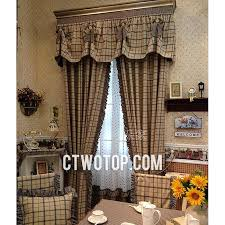 Lace Valance Curtains Brown And Cholate Country Casual Plaid Curtains With