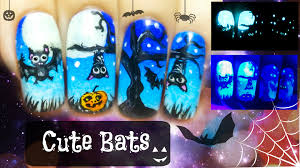 halloween cute bats glow in the dark freehand nail art tutorial