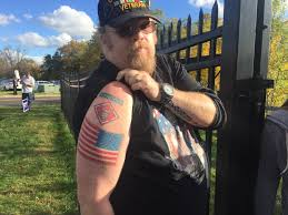 Outside Flag Donald Trump Hugs A Flag In Bucks County