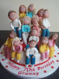 granny with grandchildren 70th birthday cake 70th birthday cake