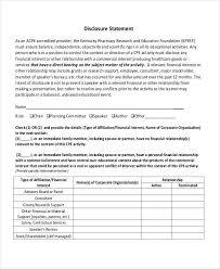 7 disclosure statement examples samples