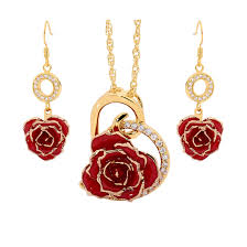 red necklace earring set images Red matching pendant and earring set heart theme 24k gold jpg