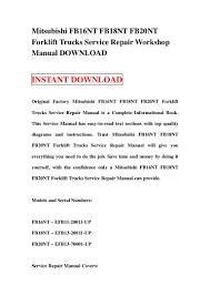 mitsubishi fb16nt fb18nt fb20nt forklift trucks service repair worksh u2026