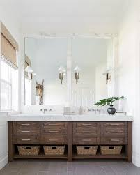 smoke gray wood like floor tiles transitional bathroom