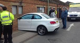 bmw 1 series pics bmw 1 series crashes perfectly into brick wall