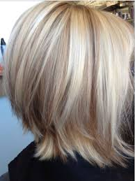 shades of high lights and low lights on layered shaggy medium length edgy bob ends flipped highlights very light blonde cool shades