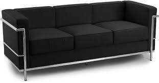 canap cuir noir canapé 3 places cuir noir inspiré lc2 le corbusier lestendances fr