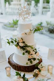 perfect rustic boho simple wedding cake with real roses and ivy