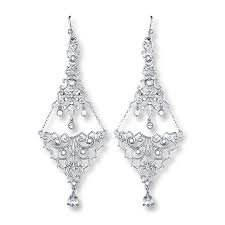 Silver Chandelier by Kay Chandelier Earrings Crystal Accents Sterling Silver