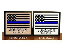 police officer gift thin blue line family name burlap print