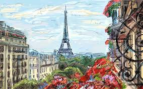 a beautiful view of eiffel tower digital painting large art