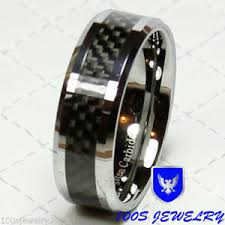 carbon fiber wedding rings tungsten carbide ring 8mm black carbon fiber s wedding band