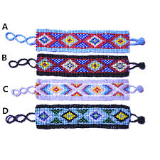bracelet beading pattern images Handmade 4 colors seed beads pattern bracelets with adjustable jpg