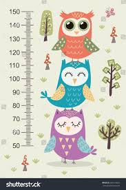 kids height meter cute owls funny stock vector 561616825
