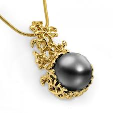 black pearl chain necklace images Coral 14k gold black tahitian pearl pendant necklace gold pearl jpg
