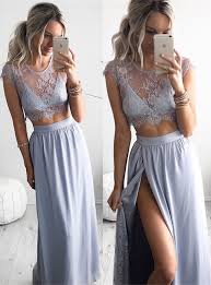 2017 two piece summer party dress illusion lace cap sleeve evening