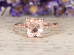 rose gold wedding set amethyst 10x8mm cushion cut morganite engagement ring diamond wedding ring
