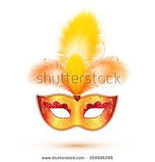 orange mardi gras golden vector carnival mask yellow orange stock vector 559996288