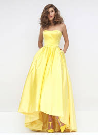 light yellow prom dresses light blue satin strapless high low ball gown prom dress queen of