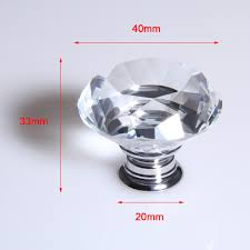5pcs clear crystal glass door knob cupboard drawer cabinet kitchen