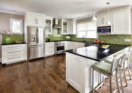 kitchens with green cabinets copper backsplash on stove stainless