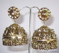 big jhumka gold earrings buy antique gold tone cz big jhumka earrings online
