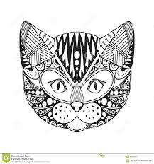 ornamental head of cat trendy ethnic zentangle design hand drawn