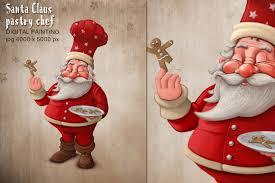 santa claus pastry chef illustrations creative market