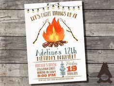 bonfire u0026 smore u0027s birthday invitation campfire party backyard
