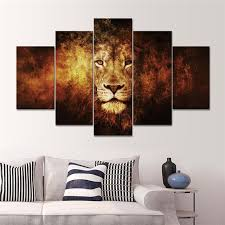 Lion King Decorations 2017 Rushed Free Shipping 5 Panel Wall Art For Lion Oil Painting