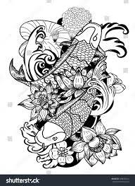 beautiful line art koi carp tattoo stock vector 676693414