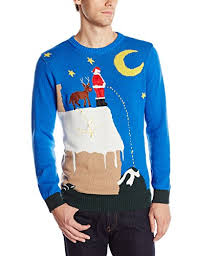 Ugly Christmas Sweater With Lights Santa From Rooftop Christmas Sweater With Lights Ugly