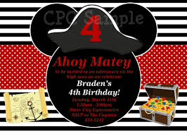 pirate mickey mouse birthday invitations printable or printed
