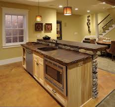 stained concrete countertops for a traditional basement with a