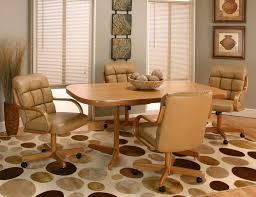kitchen table and chairs with wheels leather dining chairs with casters leather dining room chairs with
