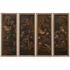 four framed japanese embroidered silk panels for sale at 1stdibs