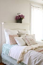 Furniture Shabby Chic Style by Beige Linen Headboard Bedroom Shabby Chic Style With White Wood