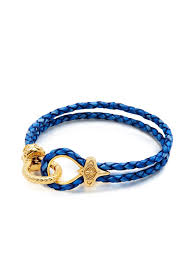 gold clasp leather bracelet images Men 39 s blue leather bracelet with gold hook clasp nialaya jewelry jpg